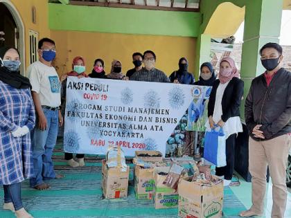Aksi Peduli Covid-19 Prodi Manajemen Universitas Alma Ata Yogyakarta