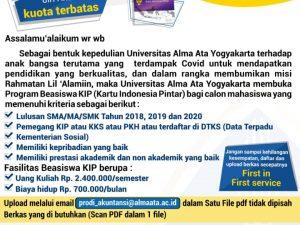 Pendaftaran Gelombang 2 Beasiswa KIP Prodi Akuntansi Telah dibuka.