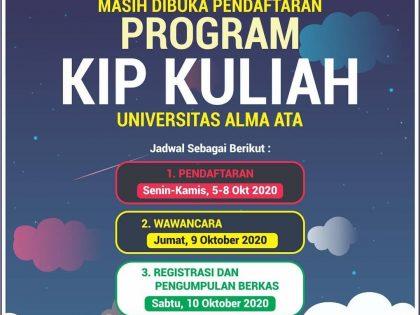 Pendaftaran Program KIP Universitas Alma Ata masih Dibuka